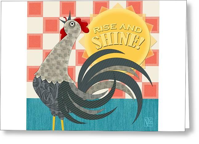 Goodmorning Rooster Greeting Card by Valerie Drake Lesiak