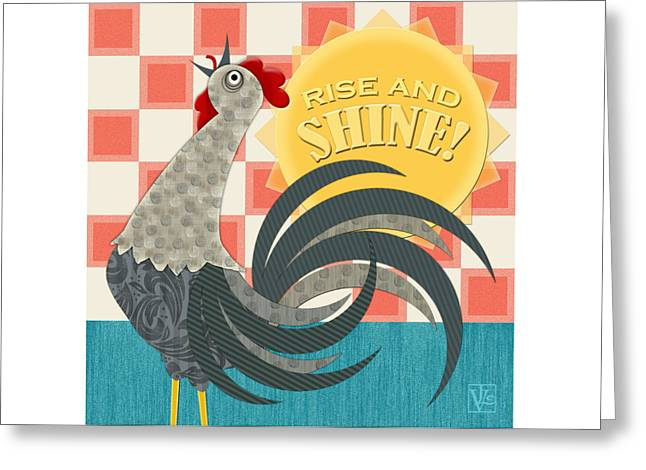Valerie Drake Lesiak Greeting Cards - Goodmorning Rooster Greeting Card by Valerie   Drake Lesiak