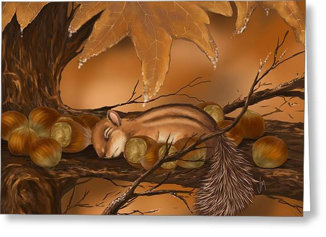 Squirrels Greeting Cards - Goodnight baby squirrel Greeting Card by Veronica Minozzi