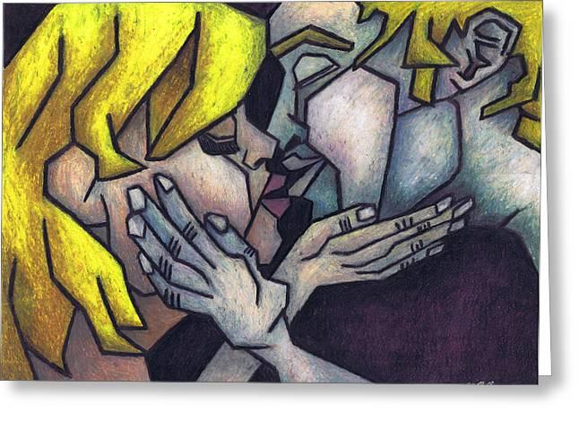 Cubism Prints Pastels Greeting Cards - Goodnight Kiss Greeting Card by Kamil Swiatek
