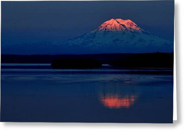 Reflecting Water Greeting Cards - Goodnight Mountain Panorama Greeting Card by Benjamin Yeager