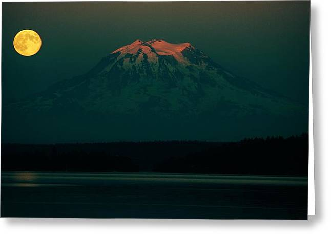 Moonrise Greeting Cards - Goodnight Rainier Greeting Card by Benjamin Yeager