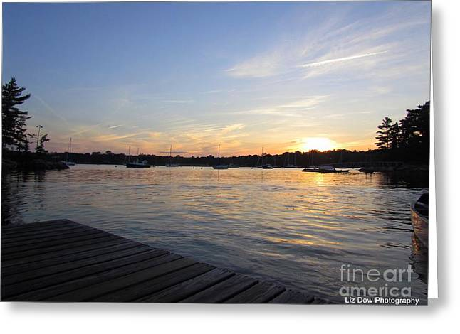 Somes Sound Greeting Cards - Goodnight Sun Greeting Card by Elizabeth Dow