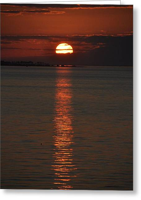 Ocean. Reflection Greeting Cards - Goodnight Sun Greeting Card by Jan Amiss Photography
