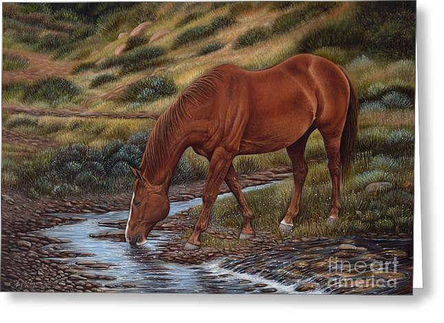 Quarter Horses Paintings Greeting Cards - GoodOl Red Greeting Card by Ricardo Chavez-Mendez