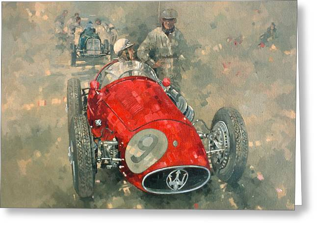 Race Photographs Greeting Cards - Goodwood 54 Roy Salvadori Oil On Canvas Greeting Card by Peter Miller