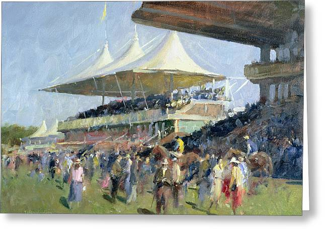 Stands Greeting Cards - Goodwood Oil On Canvas Greeting Card by Trevor Chamberlain