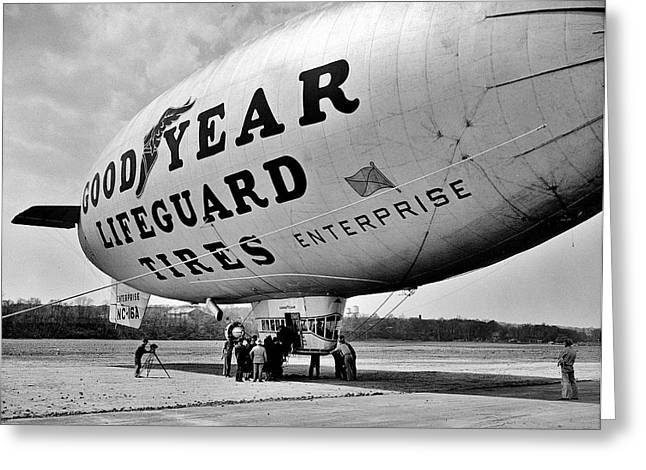 Akron Greeting Cards - Goodyear Blimp 1938 Greeting Card by Benjamin Yeager