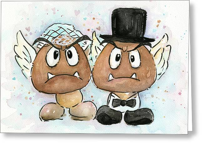 Mario Video Game Greeting Cards - Goomba Bride and Groom Greeting Card by Olga Shvartsur