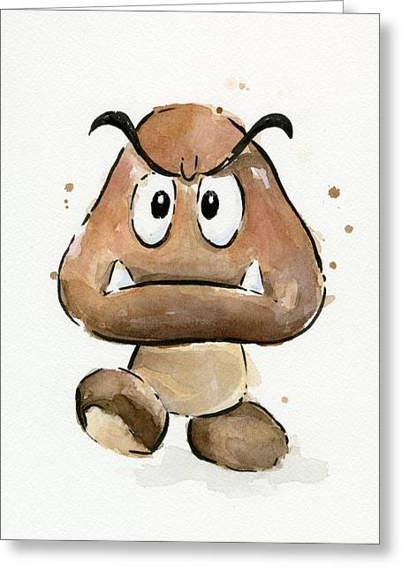 Game Mixed Media Greeting Cards - Goomba Watercolor Greeting Card by Olga Shvartsur