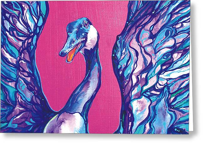 Mother Goose Paintings Greeting Cards - Goose Greeting Card by Derrick Higgins