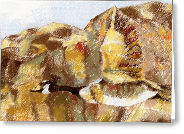 Geese Pastels Greeting Cards - Goose flying  Greeting Card by Richard Gage