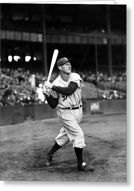 Hall Of Fame Greeting Cards - Goose Goslin Swinging Bat Greeting Card by Retro Images Archive