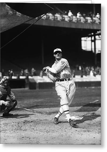 Retro Antique Greeting Cards - Goose Goslin Swinging Warming Up Before Game Greeting Card by Retro Images Archive