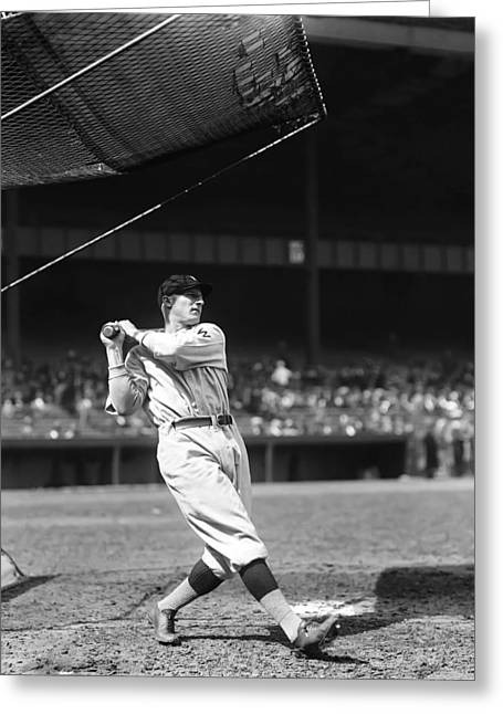 Retro Antique Greeting Cards - Goose Goslin Swings Pre Game Greeting Card by Retro Images Archive