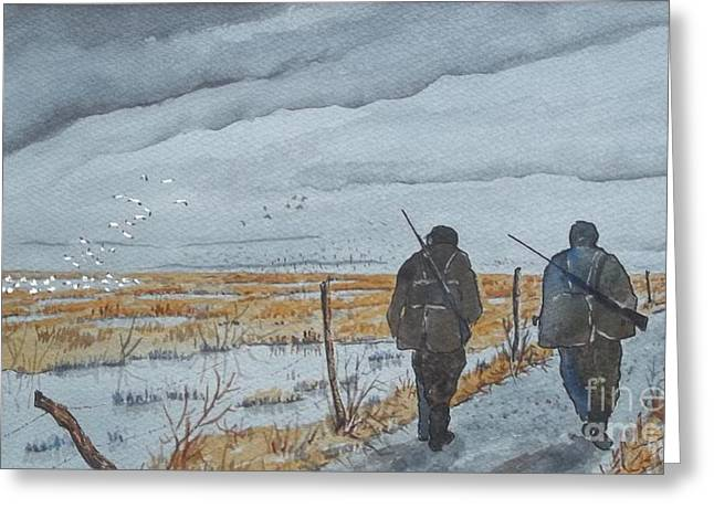 Snow Geese Paintings Greeting Cards - Goose Hunters Greeting Card by Don Hand
