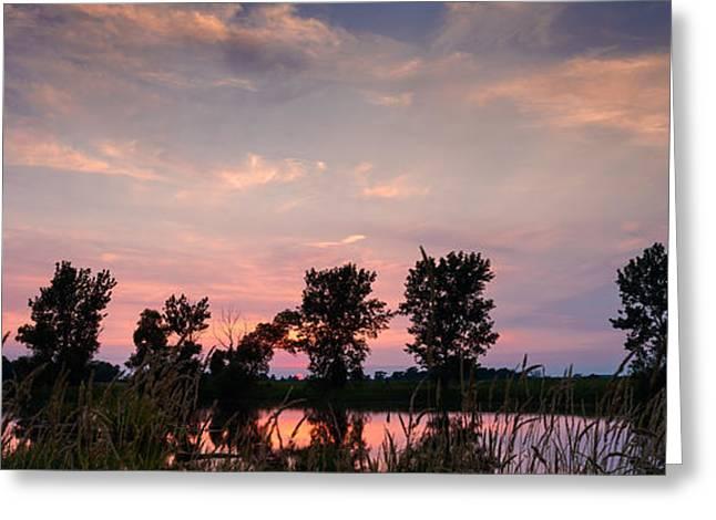Geese Greeting Cards - Goose Lake Prairie Sunset Greeting Card by Steve Gadomski