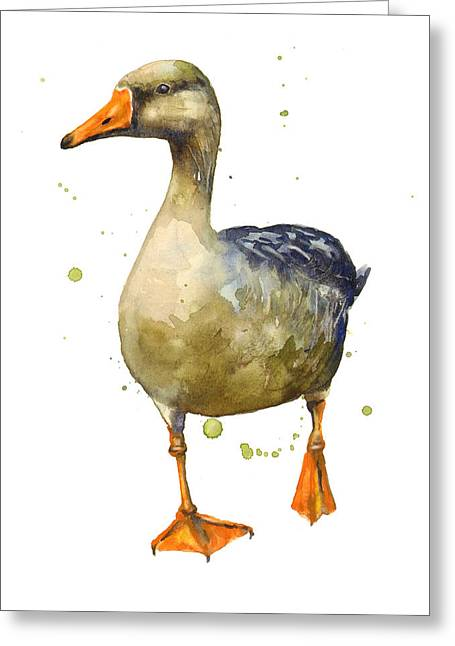 Geese Greeting Cards - Goose Painting Greeting Card by Alison Fennell