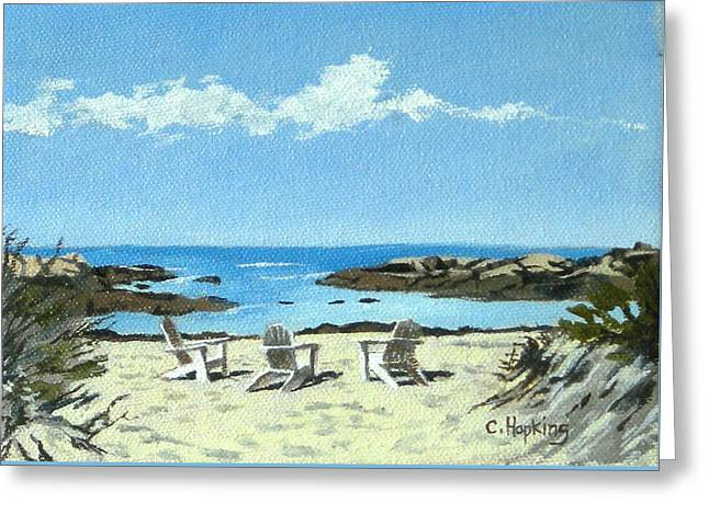 Recently Sold -  - Sand Castles Greeting Cards - Gooseberry Beach Newport Rhode Island Greeting Card by Christine Hopkins