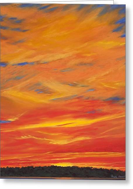 Setting Pastels Greeting Cards - Gooseberry Point Skyfire Greeting Card by Pamela Heward