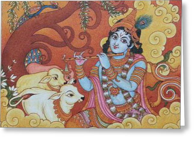 Gopala Greeting Cards - Gopala Krishna Mural Painting Greeting Card by Navin PB