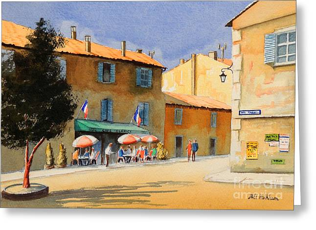 Gaul Greeting Cards - Gordel Provence Cafe Clerici Greeting Card by Bill Holkham