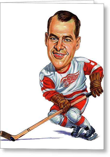 Hockey Paintings Greeting Cards - Gordie Howe Greeting Card by Art