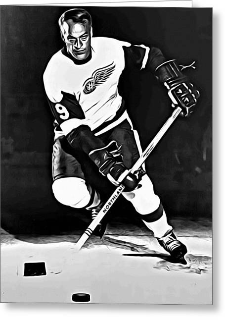 Detroit Legends Greeting Cards - Gordie Howe Greeting Card by Florian Rodarte