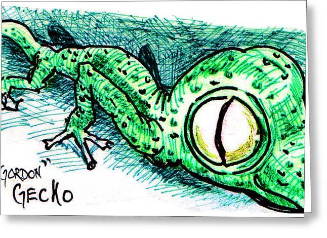 Gecko Illustration Greeting Cards - Gordon Gecko Greeting Card by Del Gaizo