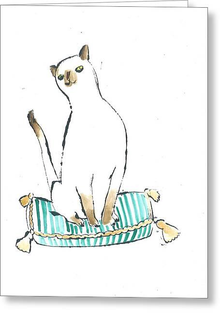 Cushion Drawings Greeting Cards - Gordon Greeting Card by Julian Mitchell