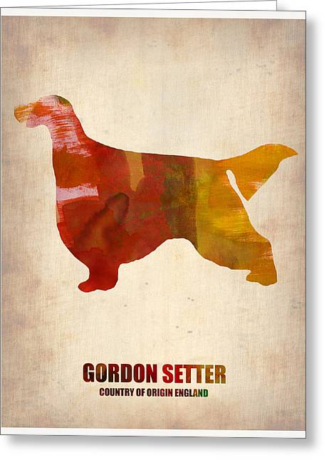 Puppies Paintings Greeting Cards - Gordon Setter Poster 1 Greeting Card by Naxart Studio