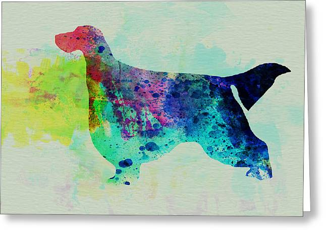 Puppies Paintings Greeting Cards - Gordon Setter Watercolor Greeting Card by Naxart Studio
