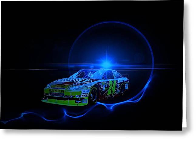 Jeff Gordon Greeting Cards - Gordon Under Light Greeting Card by Nick Bergstrom