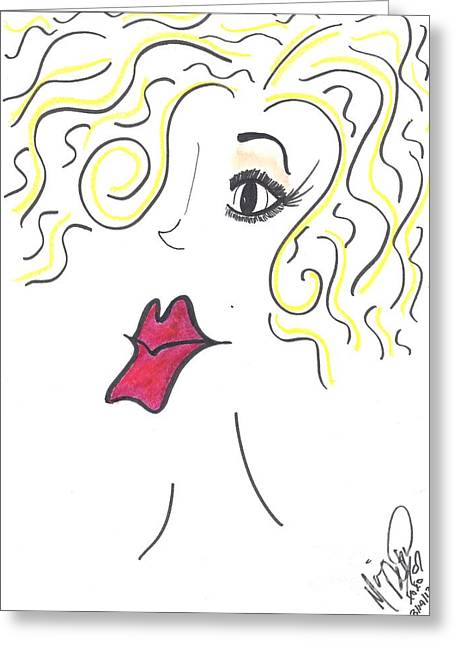 Red Lips Pastels Greeting Cards - Gorgeous Dahling Greeting Card by Marie De Garo