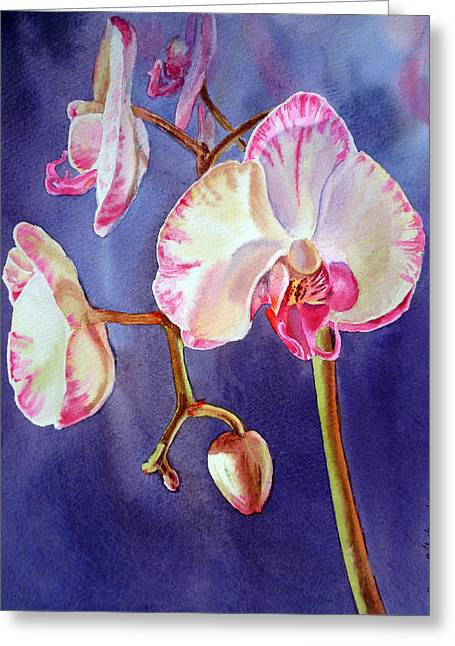 Landscape. Scenic Paintings Greeting Cards - Gorgeous Orchid Greeting Card by Irina Sztukowski