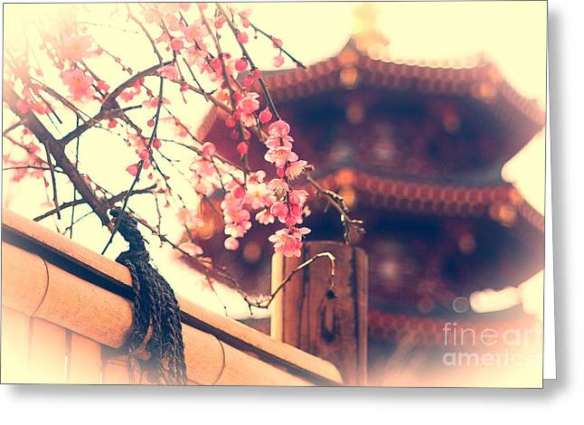 Gorgeous Pagoda and Plum Blossoms with Bamboo Fence Greeting Card by Beverly Claire Kaiya
