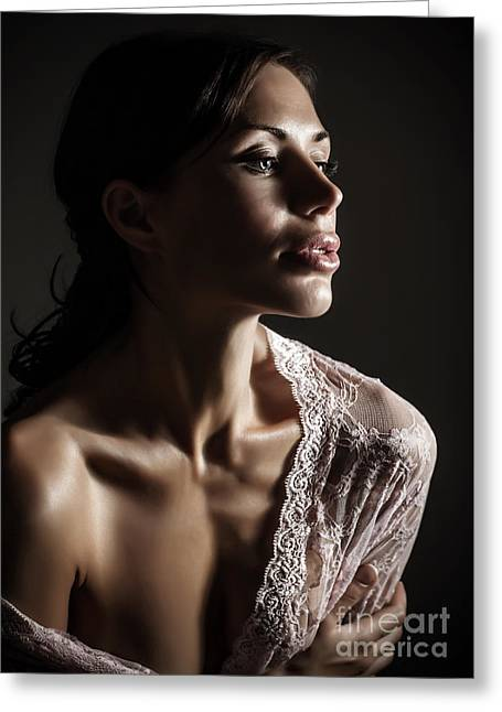 Supermodels Greeting Cards - Gorgeous sensual woman Greeting Card by Anna Omelchenko