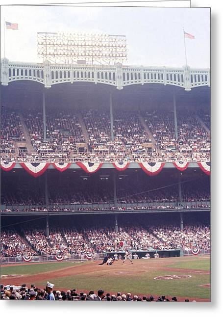 Sports Photography Greeting Cards - Gorgeous View Of Old Yankee Stadium Greeting Card by Retro Images Archive