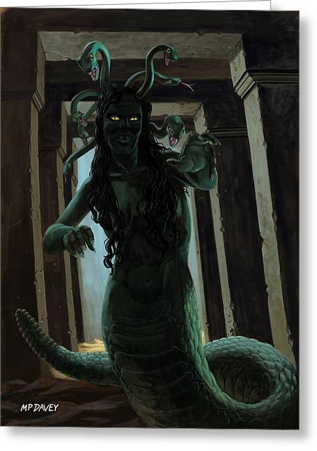 Classic Monster Greeting Cards - Gorgon Medusa Greeting Card by Martin Davey