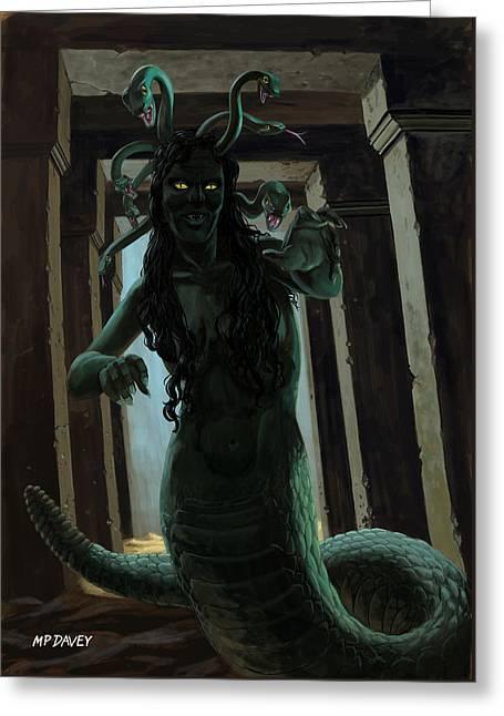 Gorgon Medusa Greeting Card by Martin Davey