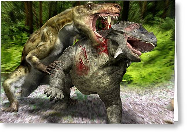 Bird-like Greeting Cards - Gorgonopsian reptile attack, artwork Greeting Card by Science Photo Library