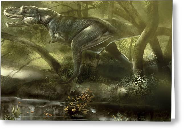 Stream Digital Art Greeting Cards - Gorgosaurus Dinosaur Hunting For Food Greeting Card by Jan Sovak