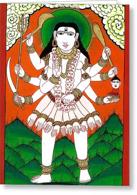 Hindu Goddess Paintings Greeting Cards - Gori Maa Greeting Card by Ashok Kumar