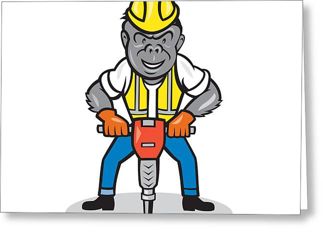 Jackhammer Greeting Cards - Gorilla Construction Jackhammer Cartoon Greeting Card by Aloysius Patrimonio
