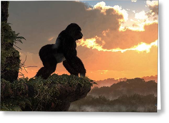 Conservationist Greeting Cards - Gorilla Sunset Greeting Card by Daniel Eskridge