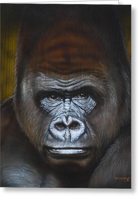 Airbrush Greeting Cards - Gorilla Greeting Card by Tim  Scoggins