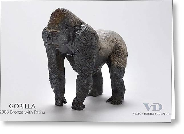 Silver Sculptures Greeting Cards - Gorilla Greeting Card by Victor Douieb