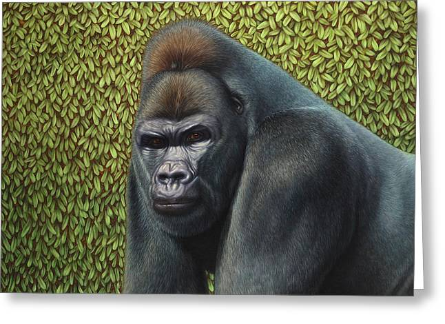 Leafy Greeting Cards - Gorilla with a Hedge Greeting Card by James W Johnson