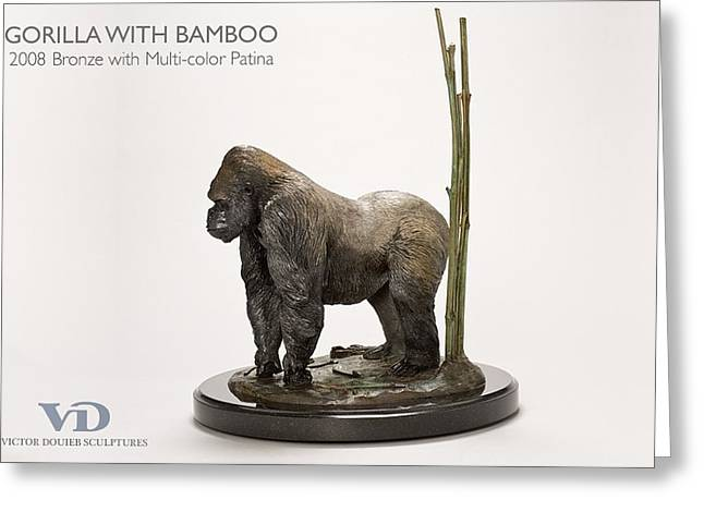 Silver Sculptures Greeting Cards - Gorilla with Bamboo Greeting Card by Victor Douieb