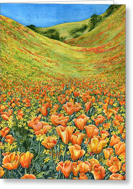 California Poppy Greeting Cards - Gorman Greeting Card by Karen Wright